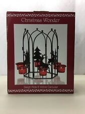 Christmas Wonder Sleigh Ride Candle Holder Six Votive Carousel Red Black Decor