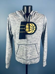 Women's New Era NBA Basketball Indiana Pacers Grey Full Zip LS Sweatshirt Medium