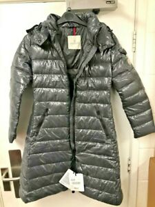 Moncler Moka Down Quilted Laqué Parka Jacket GREY [size 1 / uk 10] New with Tags