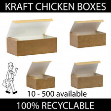 More details for brown kraft chicken boxes food takeaway containers compostable disposable strong