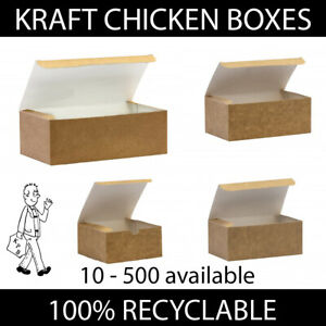 Brown Kraft Chicken Boxes Food Takeaway Containers Compostable Disposable Strong
