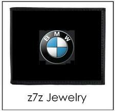 BMW Logo Emblem Wallet - bifold black leather w/ steel medallion auto car z7qq