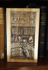 Rustic Pine Sign Wall of Death Motorcycle Skull poster Fair Frederick Maryland