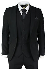 Men Black Slim Fit Suit 3 Piece Work Office Casual or Wedding Party Suits