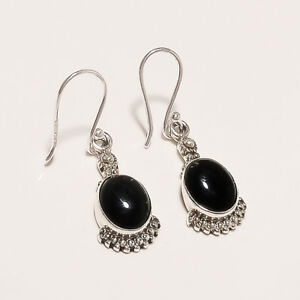 925 Solid Sterling Silver Natural Black Onyx Cab Earrings Gemstone 4.Gm I-2701