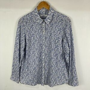 Sportscraft Liberty Womens Top Size 14 Blue Floral Long Sleeve Collared Button