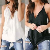 Women's Cotton Sleeveless Blouse Shirt Ladies Summer Loose Casual Vest Tank Top