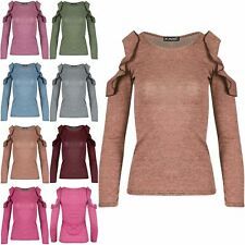 Ladies Womens Cold Cut Out Shoulder Peplum Ruffle Frill Marl Knitted T Shirt Top