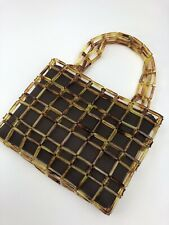 Vintage Lucite Tortoiseshell Square Link Small Purse