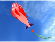 NEW 3D Kite Huge Frameless Soft Parafoil Giant Dolphin Kite RED Outdoor Sports