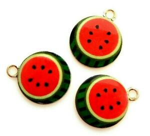 10 Red Enamel Watermelon Fruit Slice Gold Flat Round Bead Drop 19x15mm Charms