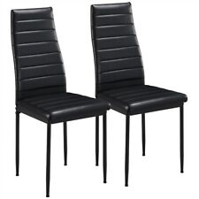 Dining Chairs High Back Faux Leather Modern Chair Metal Seat Kitchen Black 2pcs