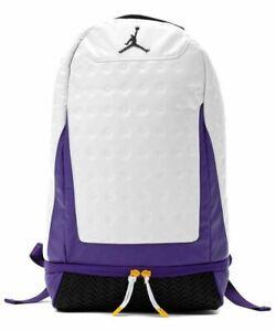 New Nike Jordan Retro 13 Backpack White/Purple Lakers One Size Fast Shipping