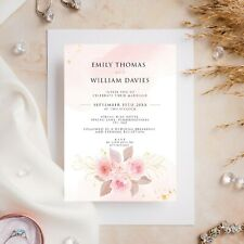 10 Wedding Invitations Day/Evening Watercolour Rose Gold Floral Flower