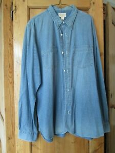 RRL Men's Indigo Cloth Cotton Long Sleeve Shirt, Southwestern Style,  XL