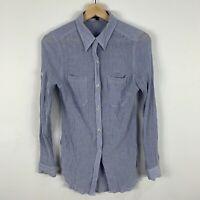 Saba Womens Blouse Shirt Top 8 Blue Long Sleeve Button Closure Collared