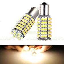 2pcs 120-SMD Warm White RV Trailer LED Backup Lights Bulbs 1156 BA15S 1073 Xenon