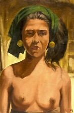 Lovely Semi Nude Portrait Signed Hasim Indonesian Listed