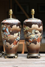 Pair of Large Antique Japanese Satsuma porcelain lamp bases