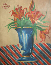 1965 still life flowers vase oil painting signed