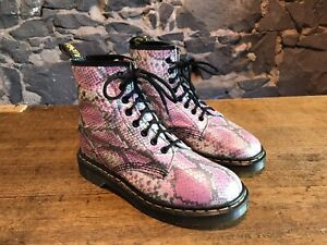 Dr Martens Vintage Women's Boots Pink UK Size 6.5 Made In England 8 Eyelet Front
