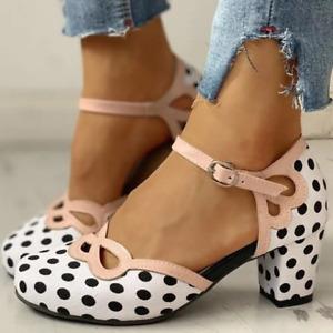 Womens Mary Jane Round Toe Pumps Sweet Polka Dot Buckle Strap Heels Dress Shoes