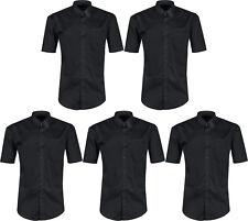 """Mens Short Sleeve Shirt Button up Business Work Smart Formal Plain Dress Top 17 1/2"""" 5 Shirts"""