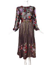 OSCAR DE LA RENTA-1980s 2pc Metallic Peasant Dress, Size-6
