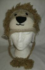 Kids Lion Hat beige 100% wool Fair Trade hand knitted in Nepal size 3/5 years