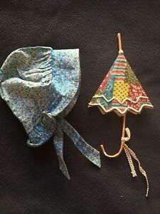 Vintage Original Blue Yellow Petal Holly Hobbie Fabric Doll Hat And Umbrella