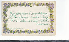 Not In The Clamor Of The Crowded Streets --    Longfellow  F A Owen Postcard 654