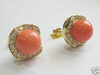 New 10mm Coral pink South Sea Shell Pearl& Crystal Gold Plated Stud Earrings 14K