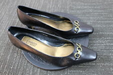 Women's FRESCO by Myers Black Leather Slip on dress heels Pumps Size 7 1/2 m