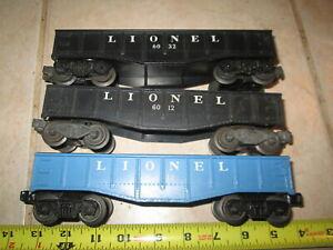 O/O-27 Lionel 6012, 6032, Blue 6112 Gondolas.
