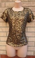 H&M GOLD SEQUIN SEQUINS BEADED SHORT SLEEVE PARTY XMAS BLOUSE TOP T SHIRT S