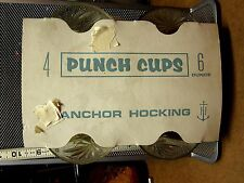 ANCHOR HOCKING pattern glass punch cups 1960s party set Prescut Oatmeal OG