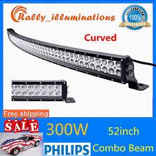 Curved 52''inch 300W LED Work Light Bar Spot Flood Offroad Light Slim 12V24V 4WD