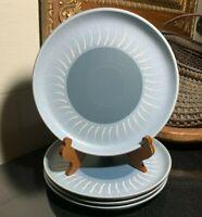 "4 Denby Stoneware Echo Blue 10 1/8"" Dinner Plates England (set #2) Excellent"