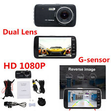 "4"" IPS 170° Dash Cam Full HD 1080P Car DVR Dual Lens Camera Video Recorder Cam"