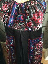 "Monsoon Santana Silk Floral Black Long Length 60"" Size 14  Hols"