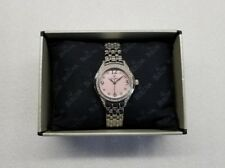 BULOVA DRESS PINK DIAL CRYSTALS ACCENT STAINLESS STEEL WOMEN'S WATCH 96X124 NEW