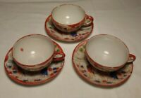 Vintage Hand Painted Japan Set of 3 Tea Cups Saucers Oriental Geisha Scene Red