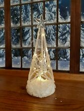LED large Christmas Flower Pattern Glass Cone Tree with Star .