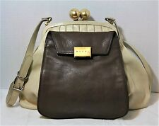 MARNI LEATHER KISSLOCK HANDBAG CROSSBODY FRAME BAG BEIGE BROWN PURSE