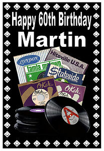 60th NORTHERN SOUL (RECORD LABELS) - HAPPY BIRTHDAY PERSONALISED CARD (ANY NAME)