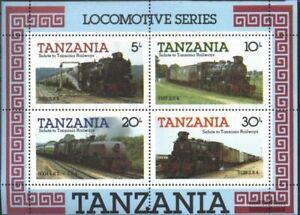 Tanzania Bloque 44 (compl.edición) nuevo con goma original 1985 locomotoras