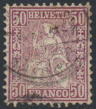 Switzerland Scott 59, Schweiz Zu 43, 50c red-lilac Sitting Helvetia, F-VF Used