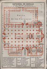 1912 Baedeker Antiguo Mapa-España-Catedral plano de planta-Catedral de Sevilla