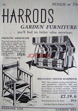 1940 HARRODS Garden Furniture AD - Small Original WW2 Print ADVERT