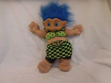 "Troll Ace 14"" Treasure Troll Doll Plush Rare Blue Hair Belly Jewel Green outfit"